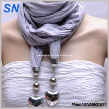 Elegant Jewelry Scarf with Heart Pendant (SNSMQ1017)