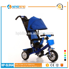 New Style Wholesale Child Tricycle with Sunshade Blue Steel Frame