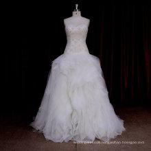 XF590 Strapless ruffle organza ball gown latest bridal wedding dress design
