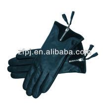 Mujeres moda negro piel de oveja los guantes de cuero
