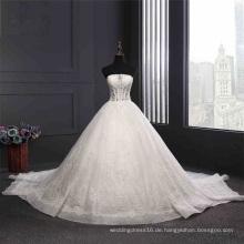 Trägerlos Perlen Pailletten Ball Braut Brautkleid