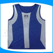 Chaleco azul impermeable de la seguridad del estiramiento con la película aplicada calor, chaleco reflexivo nathan para los hombres de los deportes