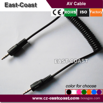 sprial 3.5mm stereo to stereo male auido aux cable for MP3 DVD