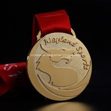 Medalla de metal de latón de oro de la astilla con cinta