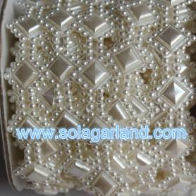 Pearl Mesh Trimming Ribbon Flat Back Wrap Roll Wedding Deco