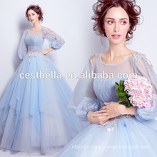 Vestidos dulces del partido del vestido de noche del vestido de bola azul claro elegante de la nueva manera 2017 con la manga larga