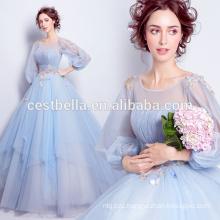 Новая мода 2017 элегантный светло-синий бальное платье милая вечерние платья ну вечеринку платья с длинным рукавом