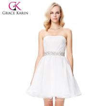 Grace Karin mediados de muslo sin tirantes lentejuelas blanco vestido de cóctel Voile GK000143-1
