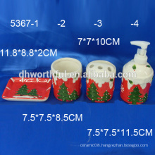 2016 new items!ceramic christmas bathroom accessories with classical christmas tree painting