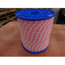Polyester Briaded Rope-White with Pink
