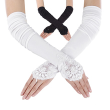 "Grace Karin Womens 19"" Lace Embellished Pleated Black And White color Fingerless Gloves Bridal Wedding Gloves CL010471"