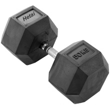 Dumbbell revestido de borracha do Hex do cromo de 5-50lbs com punho do cromo
