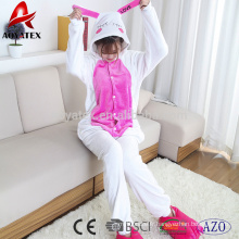 Brodé à capuche en flanelle de laine polaire pyjama femme