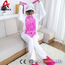 Bordado animal com capuz de flanela de lã pijama mulheres onesie