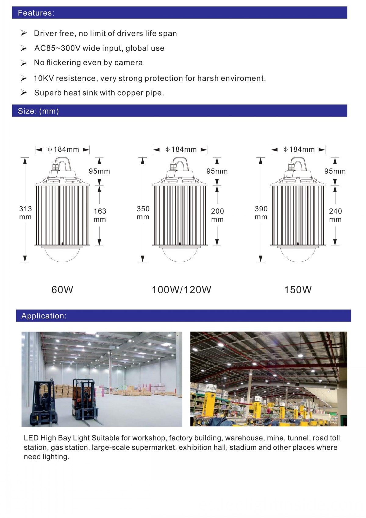 12000lm 100W Driverless LED bay light