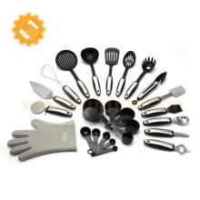 Alibaba china mejor venta multifunción de alta velocidad de 25 piezas de nylon y utensilios de cocina de acero inoxidable establece cocina herramientas de cocina
