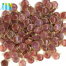 Gold Plate Natural Small Coin Bead Bead Bead Double Bail Connector Jewelry Making Charms