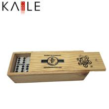 Fournisseur d'or de Domino de points noirs fait sur commande Chine dans la boîte en bois