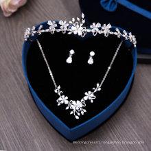 Aoliweiya 2017 Wholesale Wedding Tiaras Crown Necklace Set