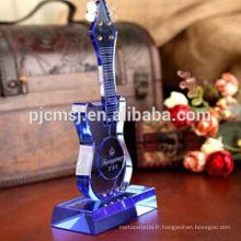 Cristal bule verre guitare instrument de musique pour la maison décorations et cadeaux.crystal modèle de guitare