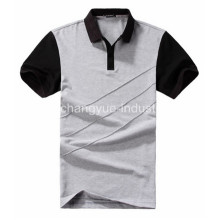 Man Contrast Color Stripe Cotton Polo T-shirt