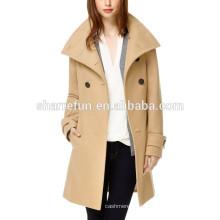 Fábrica personalizar y estilo coreano al por mayor abrigo de lana 100% mujeres
