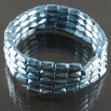 Blue Hematite 18 Faced Tube Beads 5X8MM Grade AB