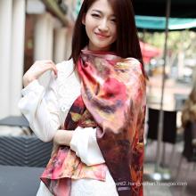 Digital Printed Silk Shawl Pure Silk Scarf (12-BR110303-4)
