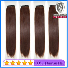 Wholesale Straight Style Dark Brown Color 20inch Cotton Thread Knotted Hair Extensions Human Hair Remy Hair Virgin Hair