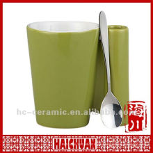Taza de cerámica con soporte para cuchara, cuchara para taza