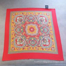 Echarpe en coton imprimé en écharpe rouge Echarpe à petits carrés