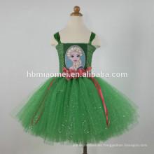 2017 venta caliente Europa y América chica de moda princesa de Navidad traje de color verde bebé niña cosplay ballet tutú vestido