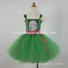 2017 hot sale Europe and America girl fashion Christmas princess costume green color baby girl cosplay ballet tutu dress