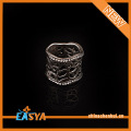 Silver 925 Plating Zinc Alloy Crystal Filigree Wide Ring