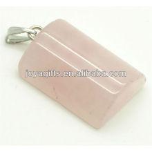 Semi precioso rosa cuarzo rectángulo colgante con alta calidad