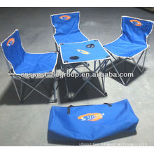 Folding table and chairs for camping.