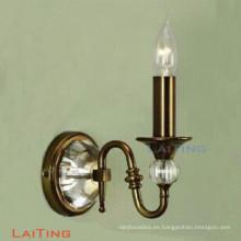 Vela lámpara de pared de cristal de latón simple luz para la decoración del hogar