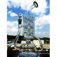 China Fabrik Großhandel Recycler 3 Schichten Öl Rig Glas Rauchen Rohr