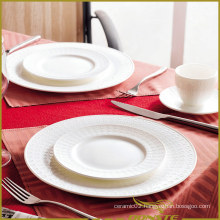 5 PCS White Porcelain Dinner Set Embossed Hollow Spots