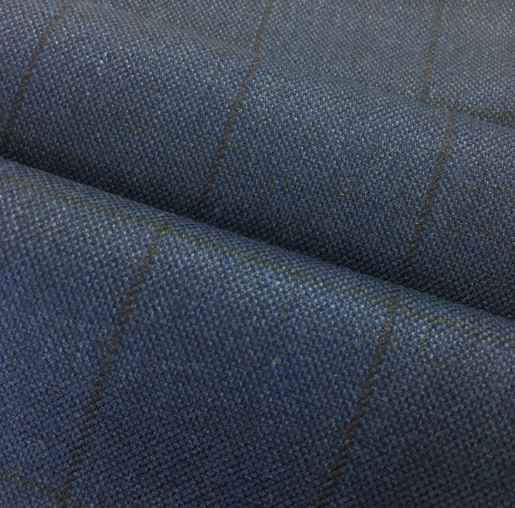 BLUE CHECK WORSTED WOVEN FABICS
