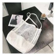 2021 New Simple Fashion Large Capacity Women Mesh Transparent Bag Double-Layer Large Beach Bags