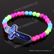 Fashion 8mm Multi Color Charm Bead Rosary Bracelet