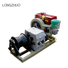 Torno de tracción de cable accionado por motor con motor de gasolina