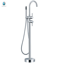 KFT-05 chrome plated brass free standing tub mixer, polished floor mounted free standing bathroom tub mixer faucet