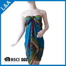 Poliéster Cetim Impresso Chiffon Scarf Beach Dress