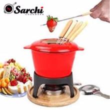 Sarchi 1.6-Quart Ensemble fondue à la viande en fonte, 11 pièces, rouge