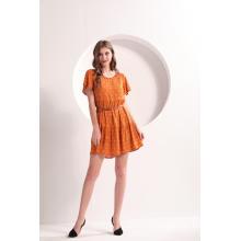 Damen Orange Sommer Minikleid