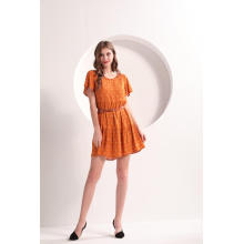 Mini vestido laranja de verão para mulheres