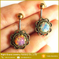 316L Surgical Steel Big Opal Centred Flower Rose Daisy Belly Button Ring