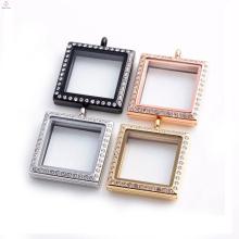 Chinesische Hersteller Großhandel Edelstahl Floating Glas Charm Medaillon Halskette